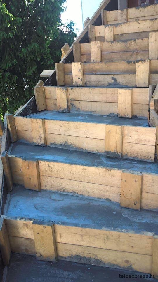 Egyedi natúr beton lépcső készítése képek, Budapest 2016
