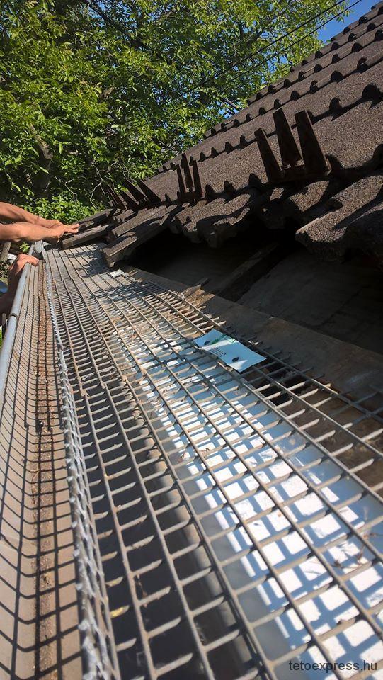 2016. Tető ereszcsatorna javítás, nyest elleni rács elhelyezése képek, Budapest