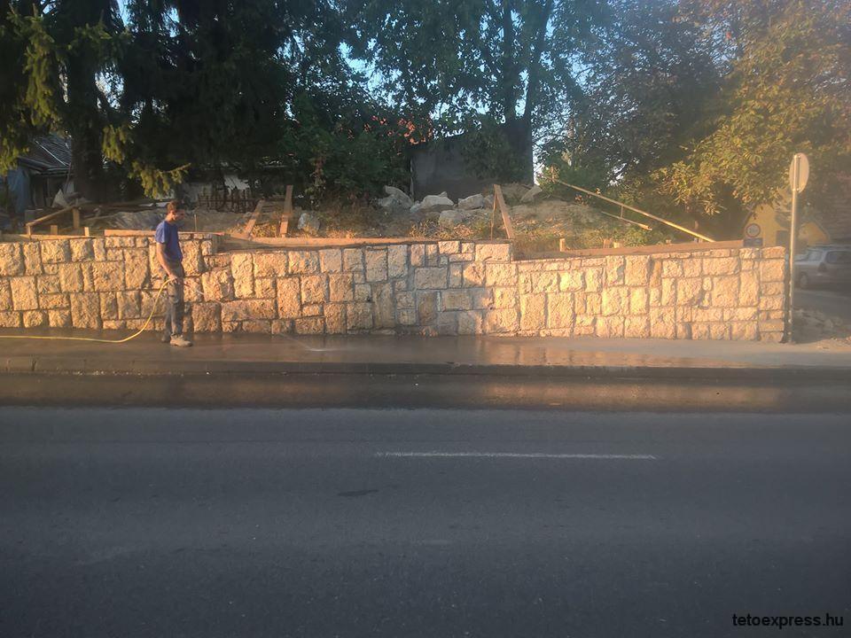 Kőkerítés betonozásról készült képek